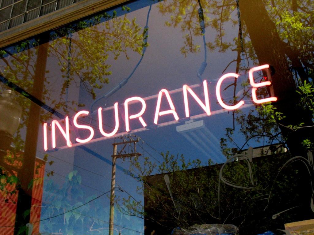 Insurance sign on window
